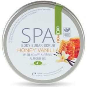 Body sugar scrub Honning-Vanilla og mandel olie 200ml