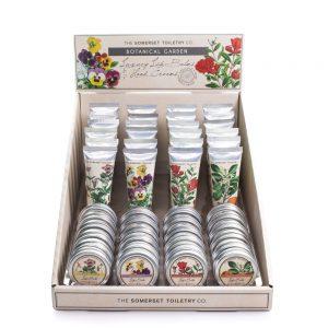 Botanical Garden håndcremer og læbepomader i display